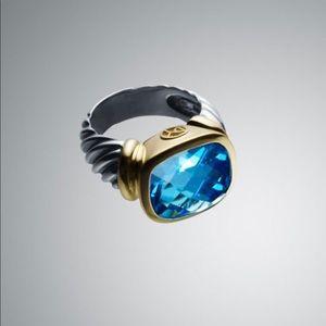 David Yurman Large Blue Topaz Noblesse Ring